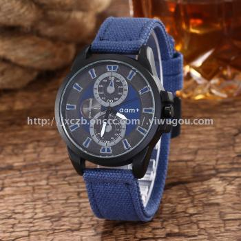 Hipster hot style denim canvas with black shell fashion watch