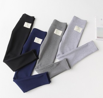Add the wool add thick bird to stick cloth pure color tall waist to wear thin leggings pants female ankle pants