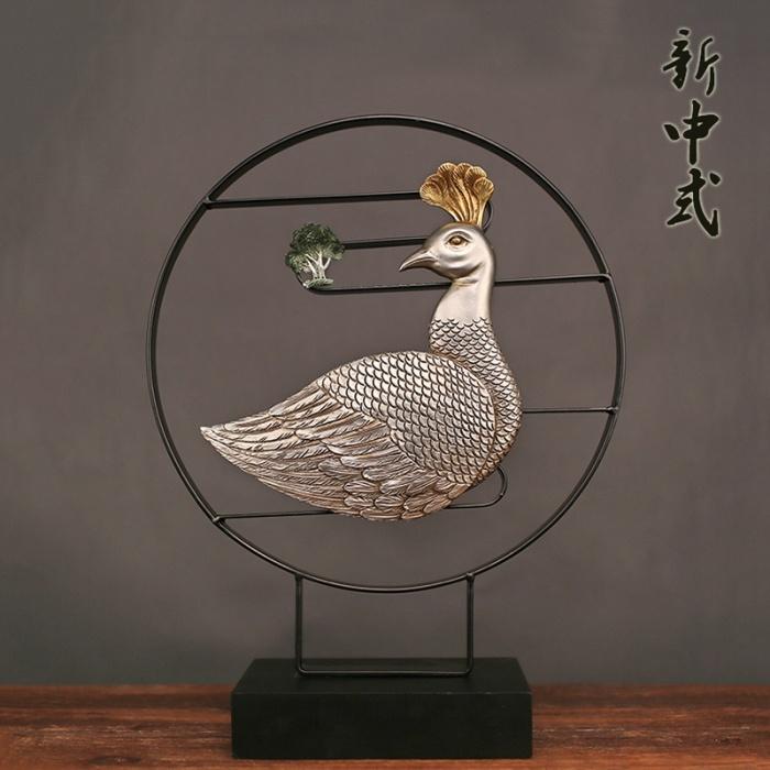 新中式创意铁艺吉祥如意孔雀家居饰品摆件厂家批发