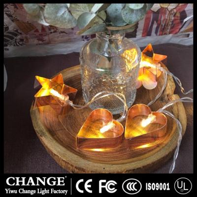 Metal iron - art pentagonal string light LED battery Lantern Festival wedding INS Nordic room decoration