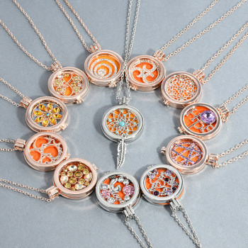 Essential oil aromatherapy set - diamond flower heart necklace can open the phase - box long sweater chain