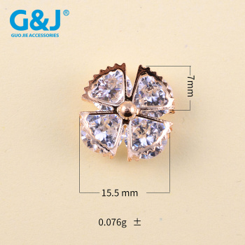 Alloy zircon decorated with droplet flower button drop box buckle