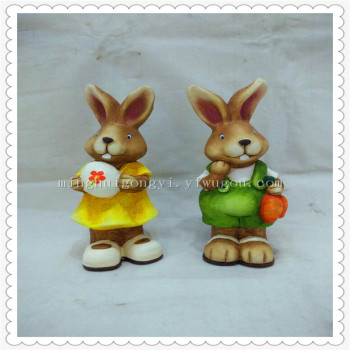 Creative cartoon ceramic Easter bunny ornament is a lovely gift for a simple girl rabbit