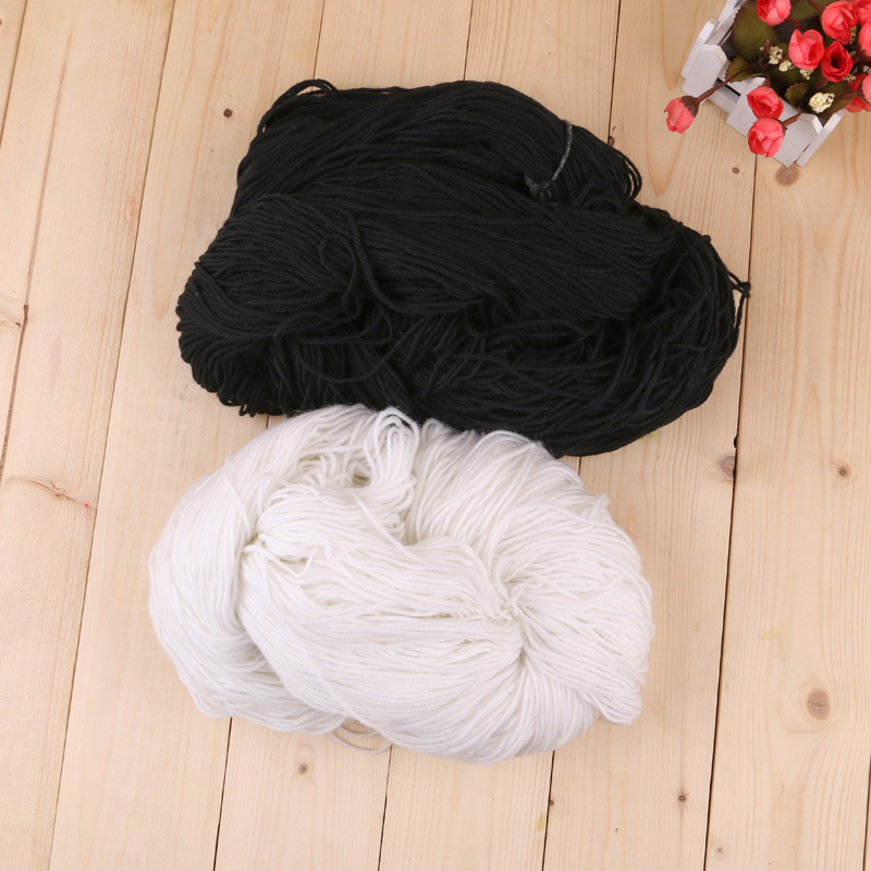 黑白两色时尚环保健康绒线 可编织毛衣围巾帽子手套等