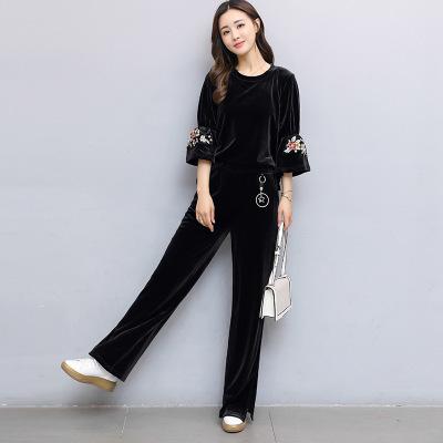 The autumn golden fleece sportswear women's wide-leg pants two-piece set of 2017 new honk embroidery casual suit women'