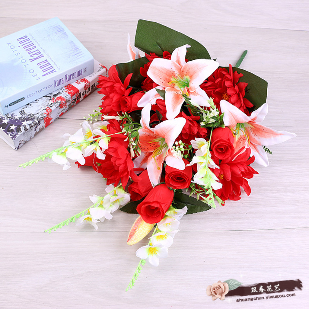 Supply Wedding Ceremony Emulation Roses Bouquet Fake Flowers To