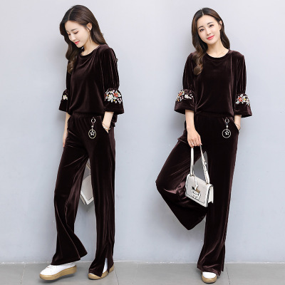 The autumn golden fleece sportswear women's wide-leg pants two-piece set of 2017 new honk embroidery casual suit women'