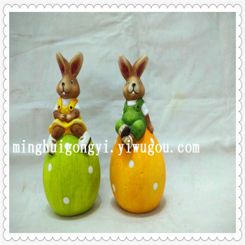 Ceramic rabbit is a modern simple Easter ceramic animal to set pieces of home crafts