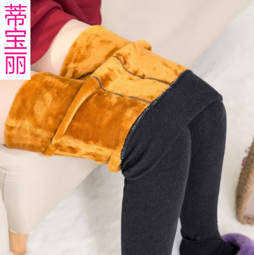 Autumn and winter with velvet Leggings one foot high waist pants warm trousers