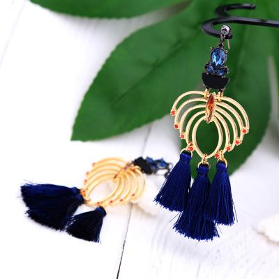 Elegant and diamond hollowed-out blue tassel earrings earrings earrings in European and American fashion