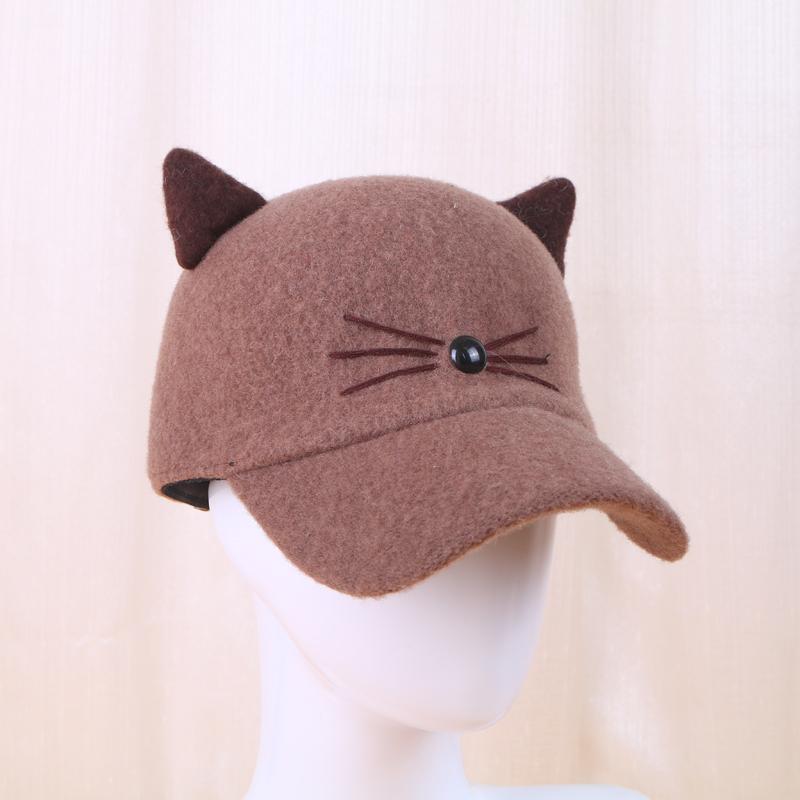 广辉帽业 韩版棒球帽超萌可爱立体猫耳朵鸭舌帽子