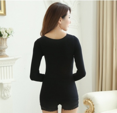 God garment V collar seamless body plastic body body plastic arms and sleeves and a plush lace thermal underwear tunic
