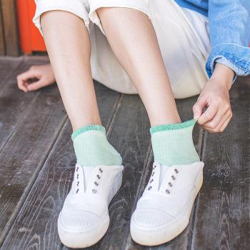 Full cotton double needle women's boat socks vintage plain day lace socks pure color socks