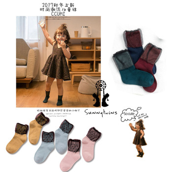 Pure cotton child socks day series black yarn through polka dots of silk stockings over socks