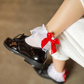 Lace bow-tie low tube short silk stockings, velvet stockings