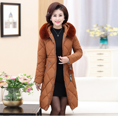 Winter quilted cotton clothes for the elderly women's wear in the elderly women's wear of the long - style clothing