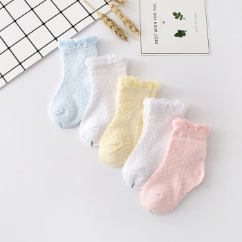 Spring and autumn period 0-3-6-12-month newborn baby pure cotton socks summer 1-2 year old baby netting socks