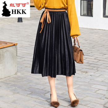 A skirt of high waisted accordion in a new south Korean version of golden velvet pleated skirt