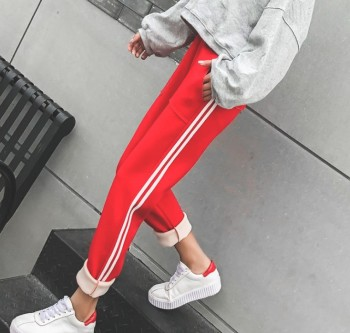 Chinese red Christmas red and red velvet warm warm haroon pants baggy pants baggy