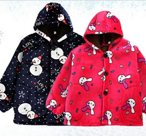 Children's jacket and fleece cardigan children's hooded jacket children's cartoon long-sleeve jacket