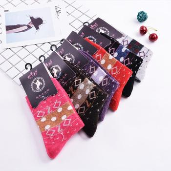 Extra thick warm wool socks winter sale dot jacquard women socks manufacturer wholesale