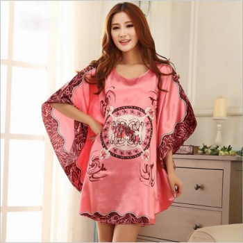 Women's wear sexy silk pajamas summer short-sleeved silk bat sleeved sleeved skirt