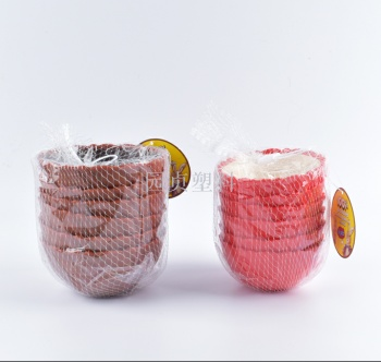 Yuen yuen plastic anti - viscose striped double - colored bowl with double color mixing bowl and microwave bowl