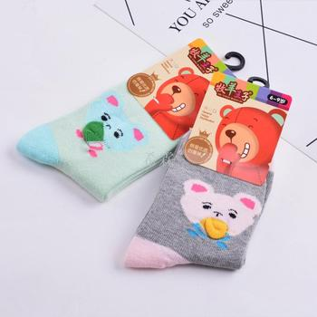 Winter add thick children all cotton socks cartoon jacquard the lovely bear ground stall goods wholesale