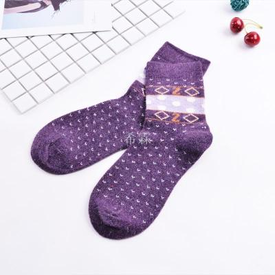 Extra thick warm wool socks winter sale dot jacquard women socks manufacturer wholesale