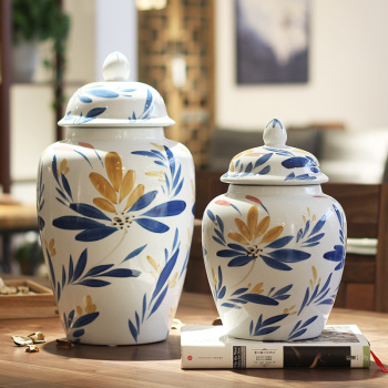 Ceramic handicraft furong blue flower storage tank household ornaments can be placed in large size.