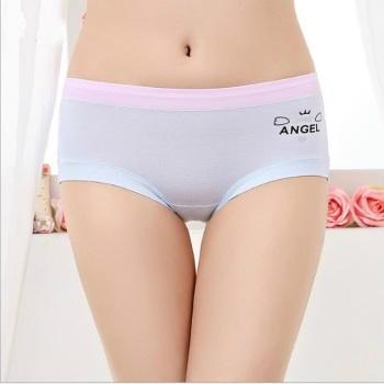 Cotton lady underwear ladies' new waist briefs breathable cartoon women's underwear