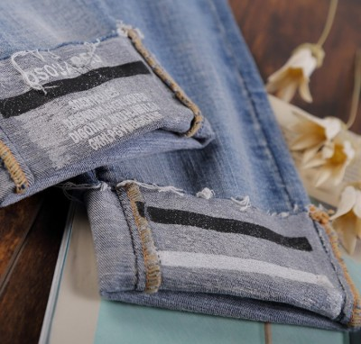 Break the hole jeans female spring fall to show thin 9 minute pants student rolled side small foot pencil pants