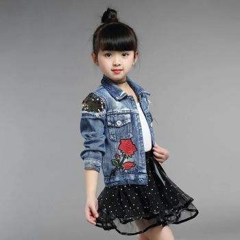 In 2018, girls' autumn version of the new model of the new middle and large children's fashion of a thin denim jacket