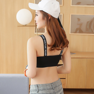Spring and summer new running fitness yoga sports speed dry wrap breast girl's underwear with breast pads.