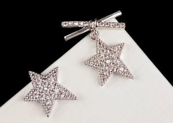 Fashion new star bow asymmetric ear nail 925 silver needle