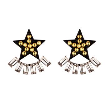 Fashion new rock metal punk element black pentagonal nail 925 silver needle