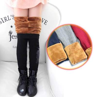 Autumn and winter children's extra thick woollen cord leggings for warm children's leggings.