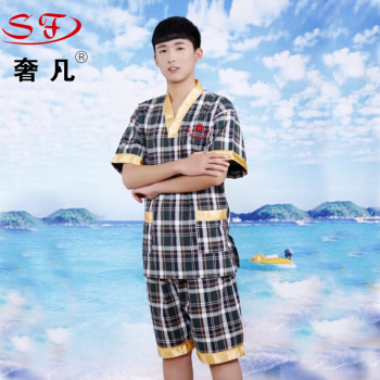 The sweat suit women's pure cotton hot spring big code high - grade couples sauna bathing suit pajamas.