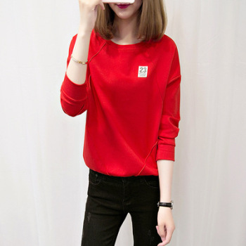Spring new women's wear long sleeve T-shirt south Korean version of the large size of the T-shirt jacket women's jacket.