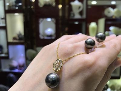 [bila jewelry] natural Tahiti black pearl inlaid with 18-karat gold pendant earrings suit.