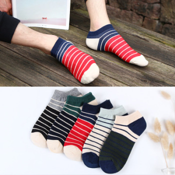 Hipster rough stripes against cotton navy men's invisible color movement low help men's socks for casual socks.