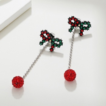 Fashionable new red ball and red ball tassel of the six - mount star nail 925 silver needle.