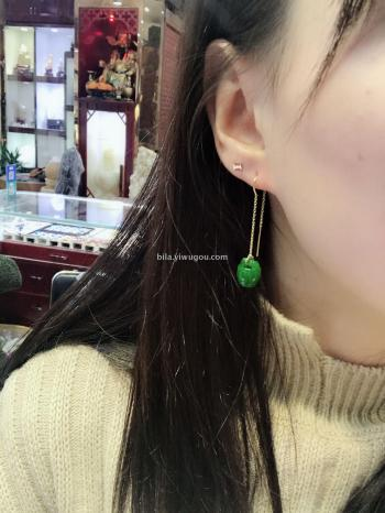 [bila jewelry] natural refined jade pendant earrings.