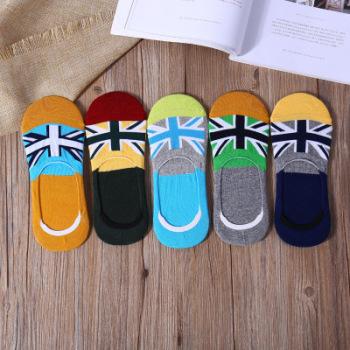Silica gel anti-skid men's invisible socks cotton flag pattern boat socks men's short socks foreign trade ship socks.