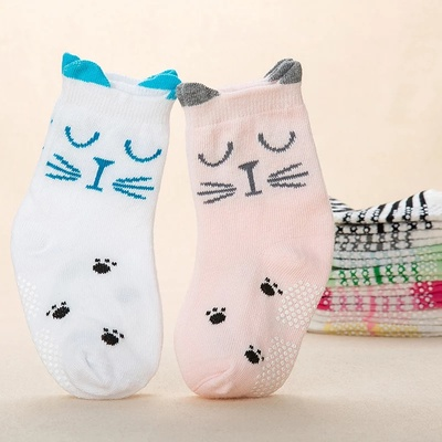 Korean edition stereo ear children socks cartoon animal pure cotton baby socks anti-slip point rubber children's socks.