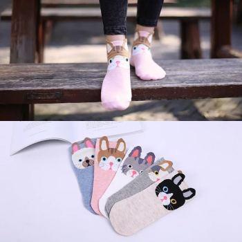 Chun xia style boat socks small ear cartoon socks stockings.