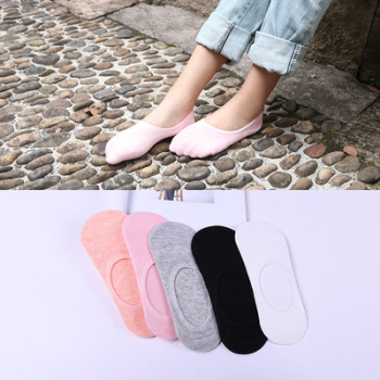 Socks lady in spring and summer invisible socks candy color silicone rubber slip, plain color female socks wholesale.