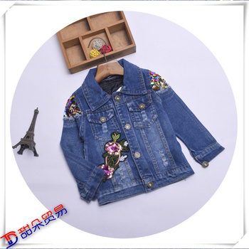 the new south Korean girls' denim applique jacket, long-sleeve lapel jacket and children's clothing wholesale.