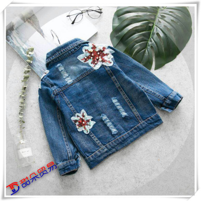 new girl jeans garment embroidered with bead coat and children's jacket of children's Korean version of the baby girl.