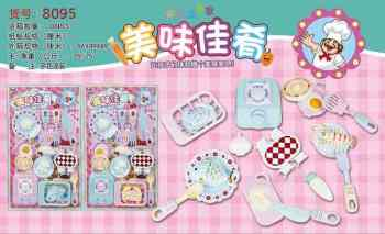 Hot cakes and delicious food children play in the kitchen tableware and kitchenware toys.